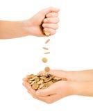 Mano dos con las monedas Foto de archivo libre de regalías