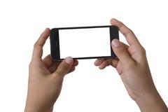 Mano dos que refrena smartphone aislado Foto de archivo