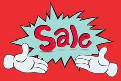 Mano e vendita del fumetto due Fotografie Stock