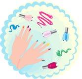Mano e vernice femminili di bellezza illustrazione di stock