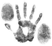 Mano ed impronte digitali per identificazione Fotografie Stock Libere da Diritti