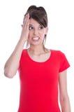 Mano el al frente - la mujer joven en rojo es ansiosa. Imagen de archivo libre de regalías