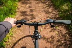 Mano en el manillar de la bicicleta en carril de la bici en naturaleza Imagen de archivo libre de regalías