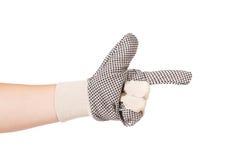Mano en guante como arma Imagen de archivo