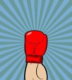 Mano en guante de boxeo El ganador, campeón de encajonamiento aumentó su mano para arriba Imagenes de archivo