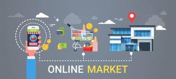 Mano en línea de la bandera del web del mercado que lleva a cabo compras de los productos del teléfono elegante y concepto de la  stock de ilustración