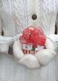 Mano en las manoplas que sostienen un regalo de la Navidad Fotos de archivo libres de regalías