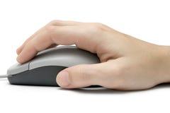 Mano en ratón del ordenador Imagen de archivo
