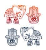 Mano etnica indiana di hamsa e dell'elefante con gli ornamenti etnici illustrazione di stock