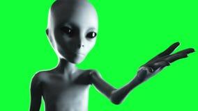 Mano extranjera que alcanza hacia fuera con el planeta de la tierra Concepto futurista del UFO Animación verde de la pantalla ilustración del vector
