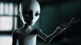 Mano extranjera que alcanza hacia fuera con el planeta de la tierra Concepto futurista del UFO cantidad cinemática 4k libre illustration