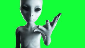 Mano extranjera que alcanza hacia fuera Concepto futurista del UFO Animación verde de la pantalla libre illustration