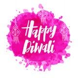 Mano feliz de Diwali dibujada poniendo letras a tipografía ilustración del vector