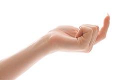Mano femenina que hace señas alguien foto de archivo