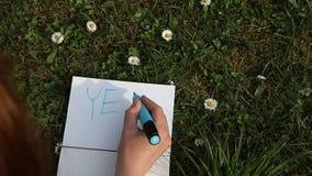 Mano femminile che scrive SÌ sulla carta che pone l'erba verde della molla archivi video