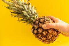Mano femminile che tiene ananas maturo su fondo giallo immagini stock libere da diritti