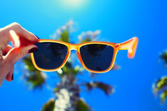 Mano femminile che tiene gli occhiali da sole variopinti contro la palma ed il cielo soleggiato blu Fotografia Stock Libera da Diritti