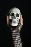 Mano femminile che tiene un cranio in sua mano Fotografie Stock
