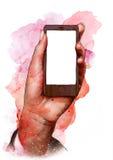 Mano femminile che tiene un telefono cellulare dello schermo in bianco, schizzo Immagini Stock