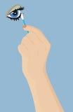 Mano femminile con un tampone di cotone Fotografia Stock Libera da Diritti