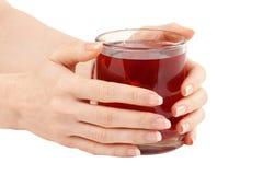 Mano femminile con una tazza di tè rosso Fotografie Stock Libere da Diritti
