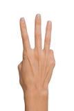 Mano femminile isolata della donna aperta vuota in una posizione del numero tre su un fondo bianco Fotografia Stock