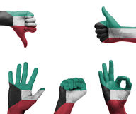 Mano fijada con la bandera de Kuwait Imágenes de archivo libres de regalías