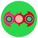 A mano filatore rosa sotto forma di pipistrello Icona uno stile piano Immagine di vettore su un fondo verde chiaro rotondo Elemen Fotografie Stock Libere da Diritti