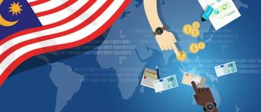 Mano financiera de la economía de Malasia que sostiene efectivo de las actividades bancarias de inversión de Asia sudoriental del stock de ilustración