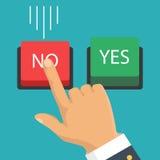 Mano, finger presionando los botones ningunos o sí Ilustración del vector Foto de archivo libre de regalías