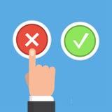 Mano, finger presionando los botones ningunos o sí Ilustración del vector ilustración del vector