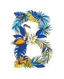 Mano floral tropical de la letra B del verano del ejemplo del vector dibujada stock de ilustración