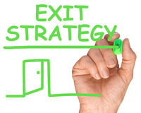 Mano futura di affari con Pen Writing Exit Strategy verde fotografia stock
