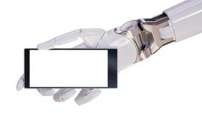 Mano futurista blanca de Android que celebra el ejemplo del concepto 3d del primer de Smartphone Foto de archivo libre de regalías