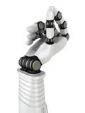 Mano futurista del robot que lleva a cabo el objeto en blanco ilustración del vector