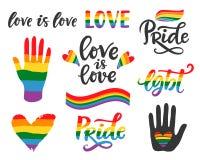 Mano gay escrita poniendo letras al cartel LGBT endereza concepto stock de ilustración