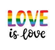 Mano gay escrita poniendo letras al cartel LGBT endereza concepto El amor es amor ilustración del vector