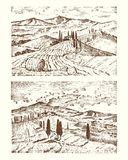 Mano grabada dibujada en el viejo estilo del bosquejo y del vintage para la etiqueta El italiano Toscana coloca árboles del fondo libre illustration
