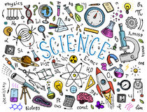 mano grabada dibujada en viejo estilo del bosquejo y del vintage fórmulas y cálculos científicos en la física y matemáticas stock de ilustración