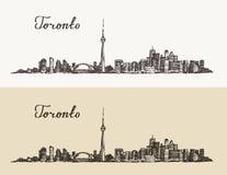 Mano grabada vintage de Canadá del horizonte de Toronto dibujada ilustración del vector