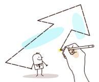 Mano grande de dibujo - hombre de negocios de la historieta y flecha grande libre illustration