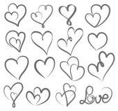 Mano grande del día de tarjetas del día de San Valentín del sistema escrita poniendo letras al corazón para amar al desi ilustración del vector