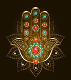 Mano Hamsa con turquesa en fondo marrón libre illustration