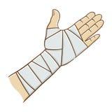 Mano herida envuelta en el ejemplo elástico del vector del vendaje Imagen de archivo libre de regalías