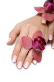 Mano hermosa con la manicura perfecta del color de rosa del clavo Fotos de archivo libres de regalías