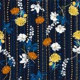 Mano hermosa que dibuja vector inconsútil floral colorido del modelo encendido y la línea humor de los polkadots del jardín el stock de ilustración