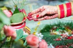 Mano hindú del ` s de la novia del Nepali Imagen de archivo