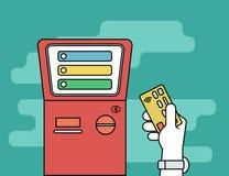 Mano humana con la tarjeta de crédito que consigue el acceso al terminal del pago ilustración del vector