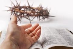 Mano humana en la biblia Foto de archivo libre de regalías