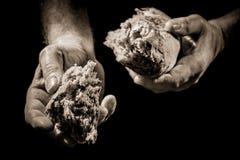 Mano humana que da un pedazo de pan Imagenes de archivo